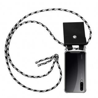 Cadorabo Handy Kette für Huawei P30 in SCHWARZ CAMOUFLAGE - Silikon Necklace Umhänge Hülle mit Silber Ringen, Kordel Band Schnur und abnehmbarem Etui - Schutzhülle
