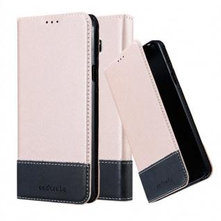 Cadorabo Hülle für Samsung Galaxy NOTE 5 in ROSÉ GOLD SCHWARZ Handyhülle mit Magnetverschluss, Standfunktion und Kartenfach Case Cover Schutzhülle Etui Tasche Book Klapp Style