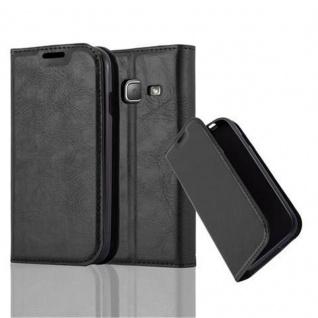 Cadorabo Hülle für Samsung Galaxy J1 MINI 2016 in NACHT SCHWARZ - Handyhülle mit Magnetverschluss, Standfunktion und Kartenfach - Case Cover Schutzhülle Etui Tasche Book Klapp Style