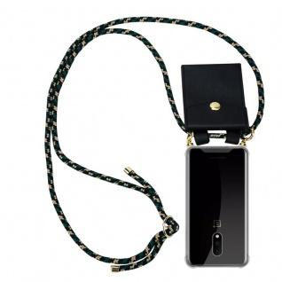Cadorabo Handy Kette für OnePlus 7 in CAMOUFLAGE Silikon Necklace Umhänge Hülle mit Gold Ringen, Kordel Band Schnur und abnehmbarem Etui Schutzhülle