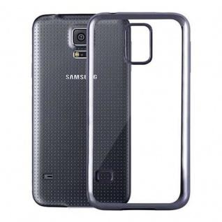 Cadorabo Hülle für Samsung Galaxy S5 / S5 NEO - Hülle in TRANSPARENT mit CHROM SCHWARZ ? Handyhülle aus TPU Silikon im Chrom Design - Silikonhülle Schutzhülle Ultra Slim Soft Back Cover Case Bumper - Vorschau 2