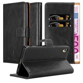 Cadorabo Hülle für Sony Xperia Z5 PREMIUM in GRAPHIT SCHWARZ ? Handyhülle mit Magnetverschluss, Standfunktion und Kartenfach ? Case Cover Schutzhülle Etui Tasche Book Klapp Style