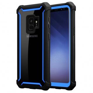 Cadorabo Hülle für Samsung Galaxy S9 in BLAU SCHWARZ 2-in-1 Handyhülle mit TPU Silikon-Rand und Acryl-Glas-Rücken Schutzhülle Hybrid Hardcase Back Case