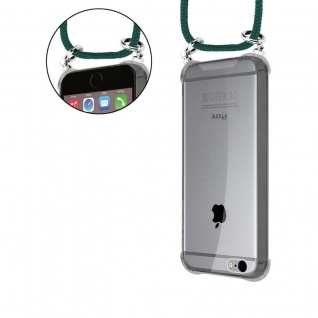 Cadorabo Handy Kette für Apple iPhone 6 PLUS / iPhone 6S PLUS in ARMEE GRÜN - Silikon Necklace Umhänge Hülle mit Silber Ringen, Kordel Band Schnur und abnehmbarem Etui - Schutzhülle - Vorschau 5