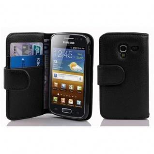 Cadorabo Hülle für Samsung Galaxy ACE 2 in OXID SCHWARZ ? Handyhülle aus strukturiertem Kunstleder mit Standfunktion und Kartenfach ? Case Cover Schutzhülle Etui Tasche Book Klapp Style