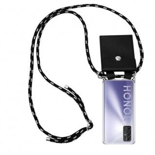 Cadorabo Handy Kette für Honor 30 in SCHWARZ SILBER Silikon Necklace Umhänge Hülle mit Silber Ringen, Kordel Band Schnur und abnehmbarem Etui Schutzhülle