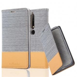 Cadorabo Hülle für Nokia 6.1 2018 in HELL GRAU BRAUN - Handyhülle mit Magnetverschluss, Standfunktion und Kartenfach - Case Cover Schutzhülle Etui Tasche Book Klapp Style