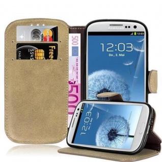 Cadorabo Hülle für Samsung Galaxy S3 / S3 NEO - Hülle in MATT SAND BRAUN - Handyhülle mit Standfunktion und Kartenfach im Retro Design - Case Cover Schutzhülle Etui Tasche Book Klapp Style