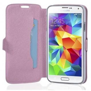 Cadorabo Hülle für Samsung Galaxy S5 / S5 NEO - Hülle in ICY ROSE - Handyhülle mit Standfunktion und Kartenfach im Ultra Slim Design - Case Cover Schutzhülle Etui Tasche Book