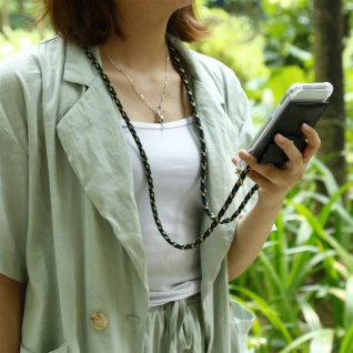 Cadorabo Handy Kette für Nokia 1 PLUS in CAMOUFLAGE - Silikon Necklace Umhänge Hülle mit Gold Ringen, Kordel Band Schnur und abnehmbarem Etui ? Schutzhülle - Vorschau 3