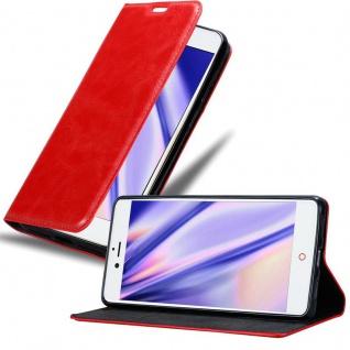 Cadorabo Hülle für ZTE Nubia Z11 in APFEL ROT - Handyhülle mit Magnetverschluss, Standfunktion und Kartenfach - Case Cover Schutzhülle Etui Tasche Book Klapp Style