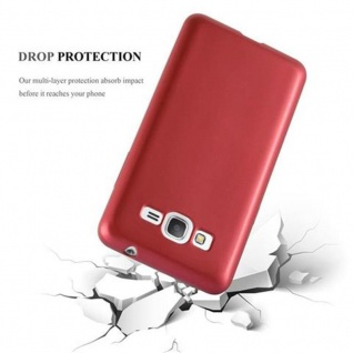 Cadorabo Hülle für Samsung Galaxy GRAND PRIME in METALLIC ROT - Handyhülle aus flexiblem TPU Silikon - Silikonhülle Schutzhülle Ultra Slim Soft Back Cover Case Bumper - Vorschau 3