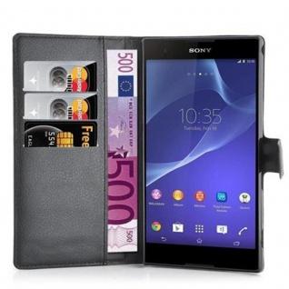 Cadorabo Hülle für Sony Xperia T2 in PHANTOM SCHWARZ ? Handyhülle mit Magnetverschluss und 3 Kartenfächern ? Case Cover Schutzhülle Etui Tasche Book Klapp Style