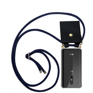 Cadorabo Handy Kette für LG Q9 in TIEF BLAU - Silikon Necklace Umhänge Hülle mit Gold Ringen, Kordel Band Schnur und abnehmbarem Etui ? Schutzhülle