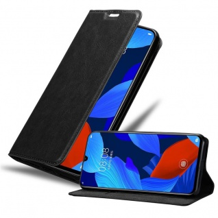 Cadorabo Hülle für Huawei NOVA 5 / 5 PRO in NACHT SCHWARZ - Handyhülle mit Magnetverschluss, Standfunktion und Kartenfach - Case Cover Schutzhülle Etui Tasche Book Klapp Style