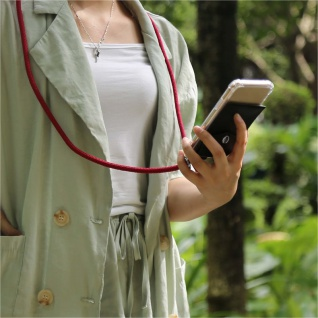Cadorabo Handy Kette für OnePlus 6 in RUBIN ROT Silikon Necklace Umhänge Hülle mit Silber Ringen, Kordel Band Schnur und abnehmbarem Etui Schutzhülle - Vorschau 4