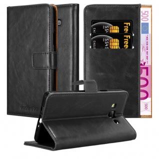 Cadorabo Hülle für Samsung Galaxy A7 2015 in GRAPHIT SCHWARZ ? Handyhülle mit Magnetverschluss, Standfunktion und Kartenfach ? Case Cover Schutzhülle Etui Tasche Book Klapp Style