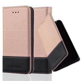 Cadorabo Hülle für Apple iPhone 5 / iPhone 5S / iPhone SE in ROSÉ GOLD SCHWARZ ? Handyhülle mit Magnetverschluss, Standfunktion und Kartenfach ? Case Cover Schutzhülle Etui Tasche Book Klapp Style