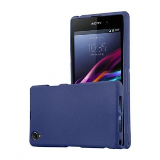 Cadorabo Hülle für Sony Xperia Z1 COMPACT - Hülle in FROST DUNKEL BLAU ? Handyhülle aus TPU Silikon im matten Frosted Design - Ultra Slim Soft Backcover Case Bumper