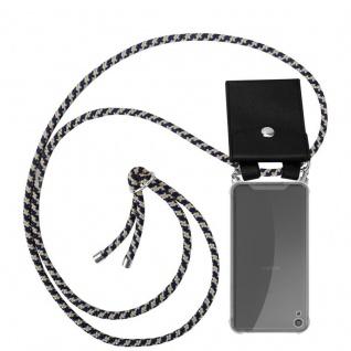 Cadorabo Handy Kette für Sony Xperia XA in DUNKELBLAU GELB - Silikon Necklace Umhänge Hülle mit Silber Ringen, Kordel Band Schnur und abnehmbarem Etui - Schutzhülle