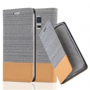 Cadorabo Hülle für Samsung Galaxy S5 / S5 NEO in HELL GRAU BRAUN - Handyhülle mit Magnetverschluss, Standfunktion und Kartenfach - Case Cover Schutzhülle Etui Tasche Book Klapp Style