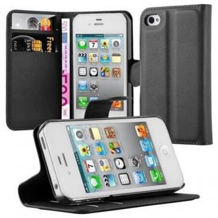 Cadorabo Hülle für Apple iPhone 4 / iPhone 4S in PHANTOM SCHWARZ - Handyhülle mit Magnetverschluss, Standfunktion und Kartenfach - Case Cover Schutzhülle Etui Tasche Book Klapp Style