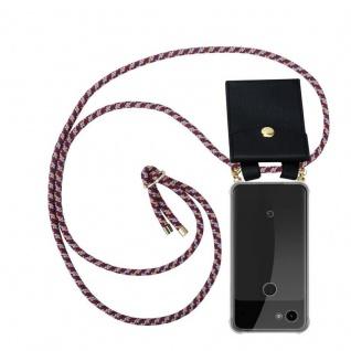 Cadorabo Handy Kette für Google Pixel 3a in ROT GELB WEISS - Silikon Necklace Umhänge Hülle mit Gold Ringen, Kordel Band Schnur und abnehmbarem Etui ? Schutzhülle