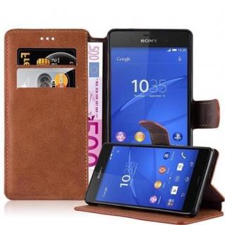 Cadorabo Hülle für Sony Xperia Z3 - Hülle in MATT BRAUN - Handyhülle mit Standfunktion und Kartenfach im Retro Design - Case Cover Schutzhülle Etui Tasche Book Klapp Style