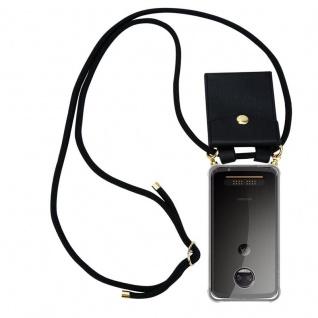 Cadorabo Handy Kette für Motorola MOTO Z2 in SCHWARZ - Silikon Necklace Umhänge Hülle mit Gold Ringen, Kordel Band Schnur und abnehmbarem Etui ? Schutzhülle