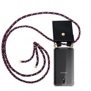 Cadorabo Handy Kette für Samsung Galaxy NOTE 3 in ROT BLAU WEISS - Silikon Necklace Umhänge Hülle mit Gold Ringen, Kordel Band Schnur und abnehmbarem Etui ? Schutzhülle