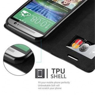 Cadorabo Hülle für HTC One M8 in NACHT SCHWARZ - Handyhülle mit Magnetverschluss, Standfunktion und Kartenfach - Case Cover Schutzhülle Etui Tasche Book Klapp Style - Vorschau 3