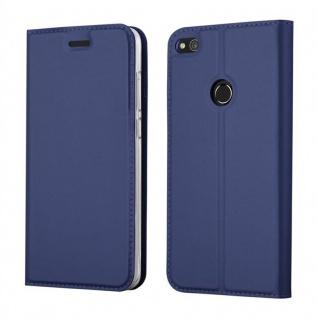 Cadorabo Hülle für Huawei P8 LITE 2017 in CLASSY DUNKEL BLAU - Handyhülle mit Magnetverschluss, Standfunktion und Kartenfach - Case Cover Schutzhülle Etui Tasche Book Klapp Style