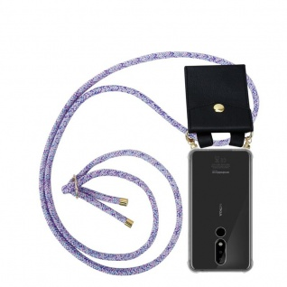 Cadorabo Handy Kette für Nokia 3.1 Plus in UNICORN Silikon Necklace Umhänge Hülle mit Gold Ringen, Kordel Band Schnur und abnehmbarem Etui Schutzhülle