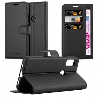 Cadorabo Hülle für WIKO VIEW 2 PRO in PHANTOM SCHWARZ - Handyhülle mit Magnetverschluss, Standfunktion und Kartenfach - Case Cover Schutzhülle Etui Tasche Book Klapp Style