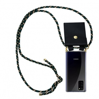 Cadorabo Handy Kette für Honor View 30 in CAMOUFLAGE Silikon Necklace Umhänge Hülle mit Gold Ringen, Kordel Band Schnur und abnehmbarem Etui Schutzhülle