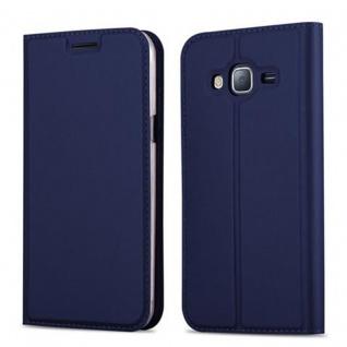 Cadorabo Hülle für Samsung Galaxy J3 2016 in CLASSY DUNKEL BLAU - Handyhülle mit Magnetverschluss, Standfunktion und Kartenfach - Case Cover Schutzhülle Etui Tasche Book Klapp Style