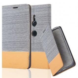 Cadorabo Hülle für Sony Xperia XZ2 in HELL GRAU BRAUN - Handyhülle mit Magnetverschluss, Standfunktion und Kartenfach - Case Cover Schutzhülle Etui Tasche Book Klapp Style
