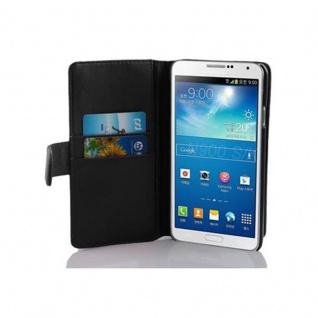 Cadorabo Hülle für Samsung Galaxy NOTE 3 in KAVIAR SCHWARZ Handyhülle aus glattem Kunstleder mit Standfunktion und Kartenfach Case Cover Schutzhülle Etui Tasche Book Klapp Style