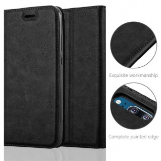 Cadorabo Hülle für Huawei P20 in NACHT SCHWARZ - Handyhülle mit Magnetverschluss, Standfunktion und Kartenfach - Case Cover Schutzhülle Etui Tasche Book Klapp Style