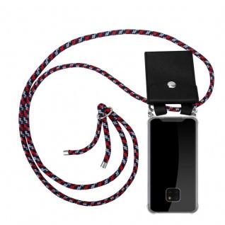 Cadorabo Handy Kette für Huawei MATE 20 PRO in ROT BLAU WEISS - Silikon Necklace Umhänge Hülle mit Silber Ringen, Kordel Band Schnur und abnehmbarem Etui - Schutzhülle