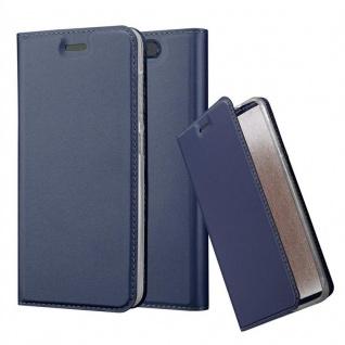 Cadorabo Hülle für ZTE Blade V8 in CLASSY DUNKEL BLAU - Handyhülle mit Magnetverschluss, Standfunktion und Kartenfach - Case Cover Schutzhülle Etui Tasche Book Klapp Style