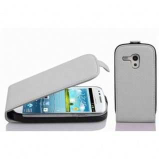 Cadorabo Hülle für Samsung Galaxy S3 MINI in MAGNESIUM WEIß - Handyhülle im Flip Design aus strukturiertem Kunstleder - Case Cover Schutzhülle Etui Tasche Book Klapp Style