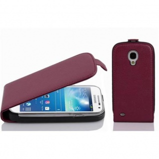 Cadorabo Hülle für Samsung Galaxy S4 MINI - Hülle in BORDEAUX LILA ? Handyhülle aus strukturiertem Kunstleder im Flip Design - Case Cover Schutzhülle Etui Tasche