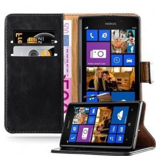 Cadorabo Hülle für Nokia Lumia 925 in GRAPHIT SCHWARZ Handyhülle mit Magnetverschluss, Standfunktion und Kartenfach Case Cover Schutzhülle Etui Tasche Book Klapp Style