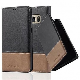 Cadorabo Hülle für Samsung Galaxy S7 in SCHWARZ BRAUN ? Handyhülle mit Magnetverschluss, Standfunktion und Kartenfach ? Case Cover Schutzhülle Etui Tasche Book Klapp Style