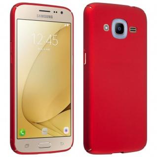 Cadorabo Hülle für Samsung Galaxy J2 2016 in METALL ROT - Hardcase Handyhülle aus Plastik gegen Kratzer und Stöße - Schutzhülle Bumper Ultra Slim Back Case Hard Cover