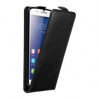 Cadorabo Hülle für Honor 6 PLUS in NACHT SCHWARZ - Handyhülle im Flip Design mit unsichtbarem Magnetverschluss - Case Cover Schutzhülle Etui Tasche Book Klapp Style