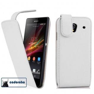 Cadorabo Hülle für Sony Xperia Z1 in POLAR WEIß - Handyhülle im Flip Design aus glattem Kunstleder - Case Cover Schutzhülle Etui Tasche Book Klapp Style