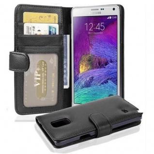 Cadorabo Hülle für Samsung Galaxy NOTE 4 - Hülle in OXID SCHWARZ ? Handyhülle mit 3 Kartenfächern - Case Cover Schutzhülle Etui Tasche Book Klapp Style