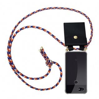 Cadorabo Handy Kette für Google Pixel 2 XL in ORANGE BLAU WEISS - Silikon Necklace Umhänge Hülle mit Gold Ringen, Kordel Band Schnur und abnehmbarem Etui ? Schutzhülle